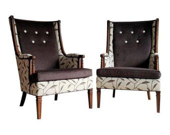 Pair of Wingback Chairs - Unique Pair, New Designer Upholstery