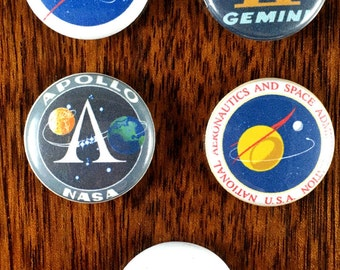 """Nasa fans 1"""" Pin Back Buttons and magnets sets of 5"""