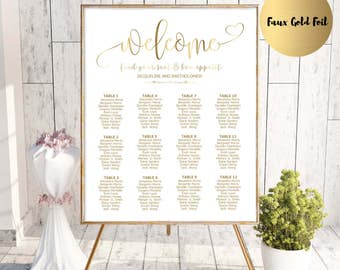 Gold Wedding seating chart template, printable seating chart, seating chart printable, editable seating plan, Find your seat sign