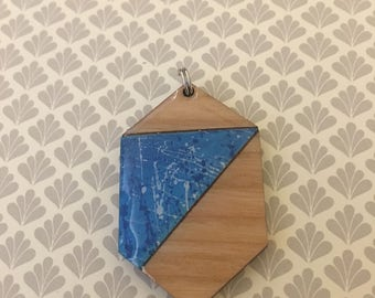 Blue Paint Splatter Pendant