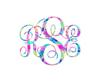 Lilly Vinyl Monogram, Vinyl Car Monogram, Yeti Decal, Lilly Inspired Monogram