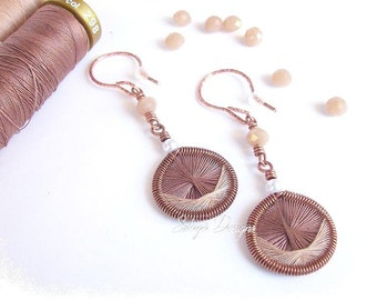 Lightweight copper earrings with hand woven cotton threads, Valentines gift, brown beige, handmade in Puglia, Italy  | Filiformi Collection