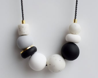 Modern Chunky necklace, Black Statement necklace, Black and White necklace, Polymer Clay necklace, 24K Gold plated Handmade jewelry, Gift