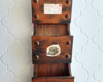 Wooden mail organizer, distressed with black chalkpaint, three pockets, mail storage, mail sorter, bills storage