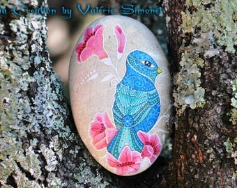 Hand - Blue Bird and flowers painted Pebble / Hand painted pebble - Blue bird & pink flowers
