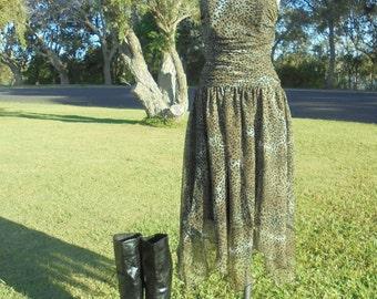 80's Leopard Print Dress, Animal Print Dress, Handkerchief Dress , Safari Dress
