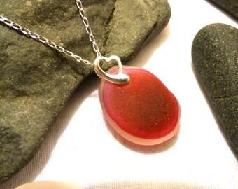 Sea Glass Pendant, Sea Glass Necklace, Heart Pendant, Pink Pendant, Valentine's Gift, Pink Necklace, Beach Glass Pendant - PI16002