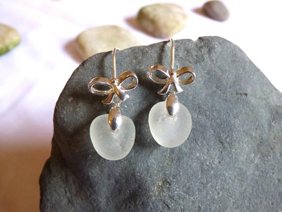 Sea Glass Earrings Bride Bridal White Bows - drop dangle bow wedding beach beachglass seaglass pebble rock stone natural formal - EE16004