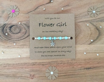 Flower Girl Proposal Bracelet, Proposal Gift, Will You Be My Flower Girl, Ask Flower Girl, Flower Girl Gift, Bridesmaid Jewellery