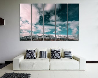 Large Wall Mountain & Clouds Canvas Color Nature Multipanel Canvas Cloud Art Large Mountain 1-3-4-5 Panel Wall Art Nature