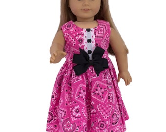 Made to fit all dolls like American Girl 18 inch doll clothes Attractive doll dress dress Flower print cotton fabric dress