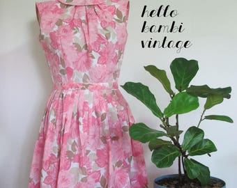 Vintage 1950s Vicky Vaughn Pink Floral Sleeveless Day Dress