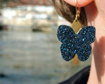 Sleepers butterfly glitter earrings
