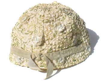 Cream Floral Cloche Hat by Amy New York Fabric Flowers and Embroidered Green Leaves 60s Classy Women's Hat