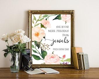 Bible verse art, She is far more precious than jewels, nursery decor printable, scripture wall art, floral nursery decor, christian decor