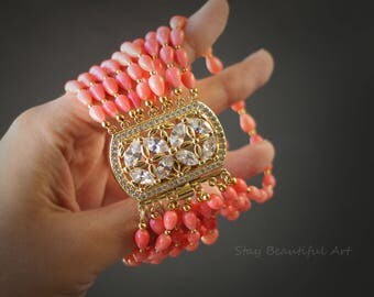 Natural Coral Gemstone Bracelet. 22K Gold Plated Clasp Cubic Zirconia.