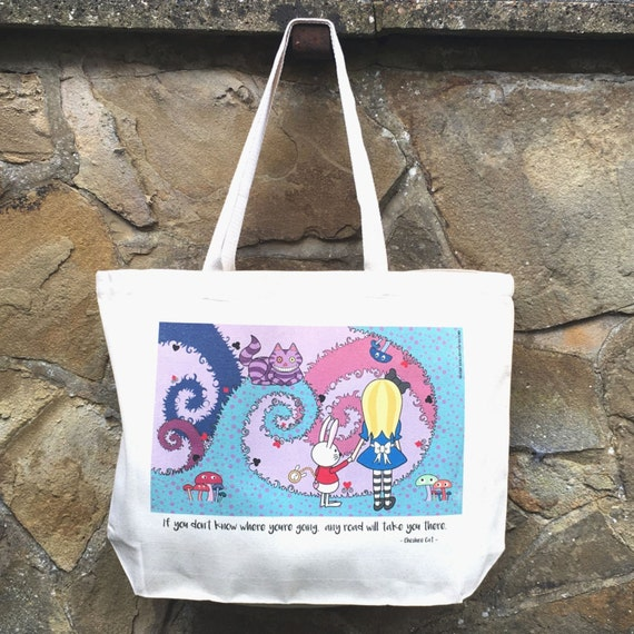 Alice in Wonderland Cheshire Cat White Rabbit Cute Kawaii Illustrated Canvas Tote Bag
