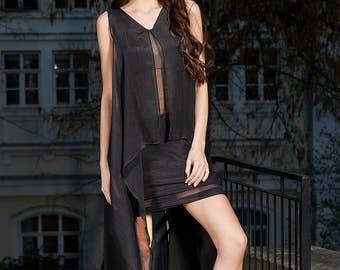 Black Tunic, V Neck Dress, Black Cotton Tunic, Layered Dress, Asymmetric Dress, Sleeveless Tunic, Maxi Dress, Party Long Dress, Beach Tunic
