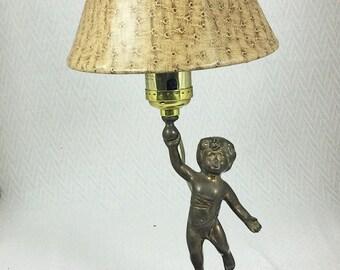 Vintage Brass Cherub Angel Accent Lamp
