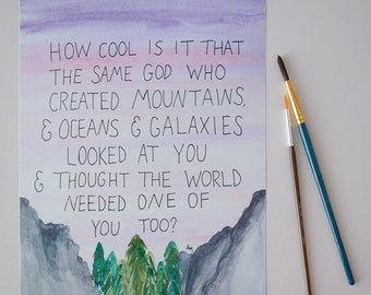 Mountain Watercolor Print, Sunset Wall Art, Creation, Galaxy