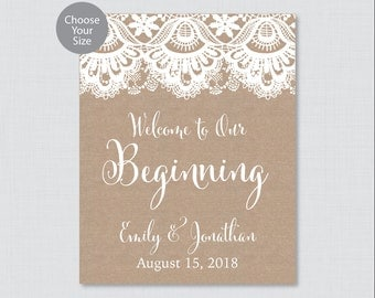 Printable Welcome to Our Beginning Sign - Rustic Burlap and Lace Wedding Welcome Sign - Rustic Personalized Wedding to Our Beginning 0002