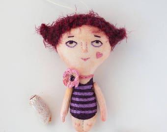 Mademoiselle Lulu. Textile embroidery doll