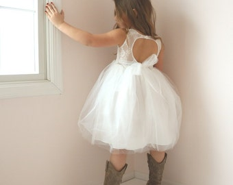 Open Back Flower Girl Dress, Rustic Flower Girl Dress, Country Flower Girl Dress, Tulle Tutu Girls Dress, Off White Dress, Vintage Chic