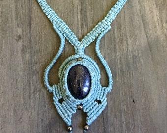 Macrame necklace FREE SHIPPING! Blue Goldstone Boho