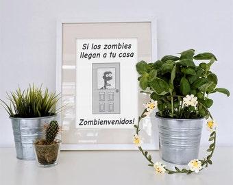Funny Spanish Zombie Art Print | Printable Art | Instant Download Art | Spanish Class | Classroom Poster