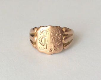 Vintage 1915 Art Deco Gold Fill Shield CWT Bold Cursive Initials Signet Ring Size I