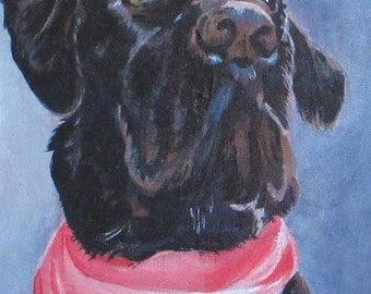 Custom original pet portrait of a black lab dog