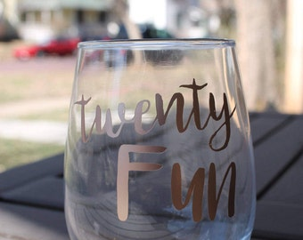Twenty Fun Custom 21 Ounce Stemless Wine Glass | 21st Birthday Giant Wine Glass | Rose Gold/Gold/Copper Lettering Options | Finally Legal |