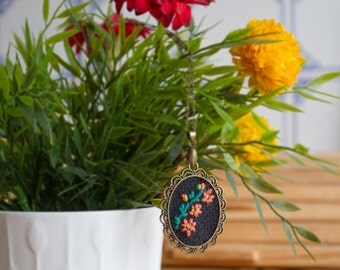 Mercury Rising flower Hand Embroidered Pendant Necklace