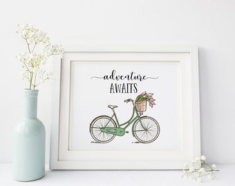 Adventure Awaits Print-Vintage Bicycle Print-Wanderlust-Travel Print-Inspirational Print-Instant Download-Wall Art Decor-Printable Art
