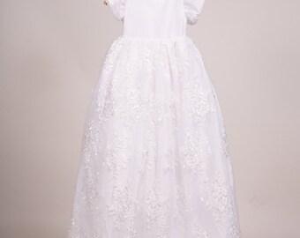 SALE..Beautifully design White or Ivory Lace Christening Gown Communion Wedding Baptsim Dress  gorgeous matching Bonnet or headpiece