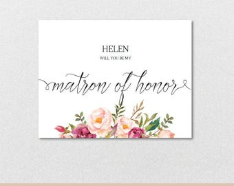 Will you be my Matron of Honor Proposal Card-Flat & Folded Matron of Honor Card,Matron of Honor Card-Editable PDF-Instant Download VRD715BFM