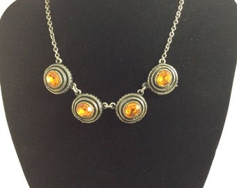1950's Amber Glass Droplet Necklace.