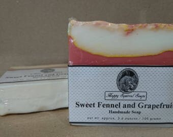Sweet Fennel and Grapefruit Handmade Soap,  Natural Skincare, Homemade Soap, UK, Bar Soap, Cold Process Soap, Exfoliating