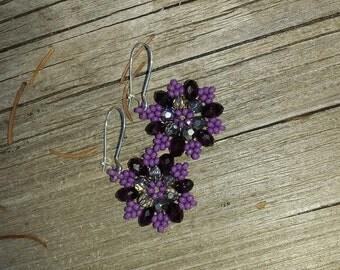 Flower Earrings. Purple Earrings. Purple Flower Earrings