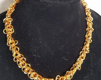 Orange and Gold Shaggy Loop Necklace