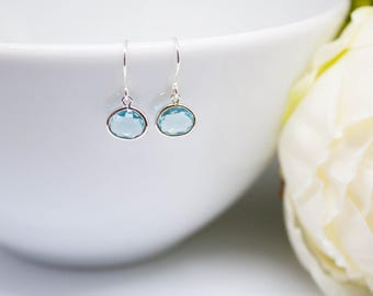 Earrings silver aquamarine earrings of real 925 Silver