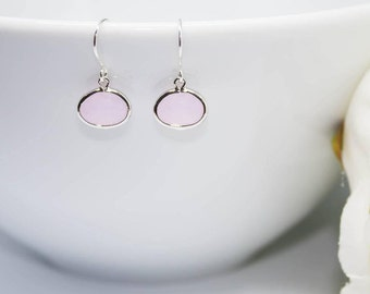 Small earrings 925 Silver stone in pink