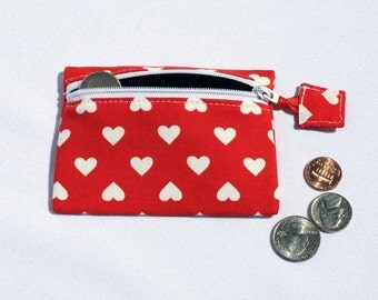Red Hearts Coin purse, small pouch, zipper pouch, zipper wallet