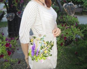 Hand embroidery bag Embroidered bag Natural linen bag tote bag Shoulder bag Vegan bag purse Flower bag tote Canvas tote bag Nature lover