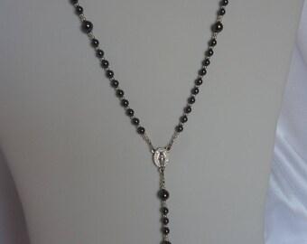 Hematite Catholic Rosary with Hematite Crucifix