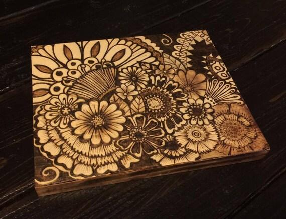 Items Similar To Pyrography Wood Burning Henna Style