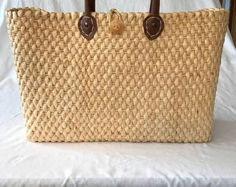 Vintage Straw and Leather Beach Tote