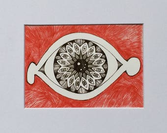 Black and White Eye on Red Background Print