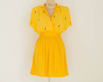 Vintage Yellow Shirt Dress