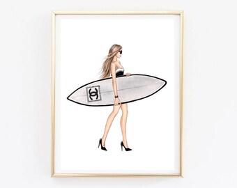 Fashion Illustration Chanel art Chanel print Coco chanel art Chanel poster Surfer girl Chanel art print Chanel home decor Chanel printable